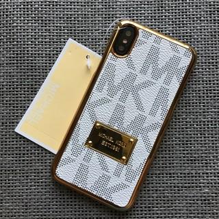 マイケルコース(Michael Kors)のiPhoneX XS ホワイト ハードケース 金縁(iPhoneケース)