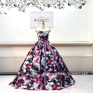 ウエディングドレス(パニエ無料) パープル花柄バージョン2 披露宴/二次会(ウェディングドレス)