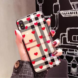 iPhoneX 可愛い レッド ハート チェック ケース 特殊コーティング(iPhoneケース)