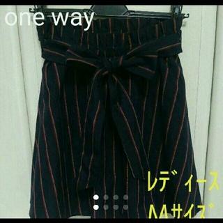 ワンウェイ(one*way)のフレアスカート ストライプ ネイビー レディース Mサイズ(ミニスカート)