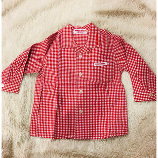 ミキハウス(mikihouse)の【チエコサク】赤×白ギンガムチェック シャツ 80cm(シャツ/カットソー)