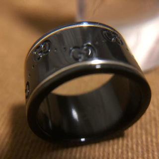 グッチ(Gucci)のGUCCI グッチ アイコンリング 指輪 ブラックセラミック 実寸6号(リング(指輪))