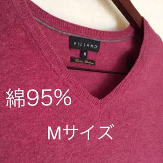 美品 Vネック カシミヤ 混 メンズ ニット セーター トップス 長袖 重ね着