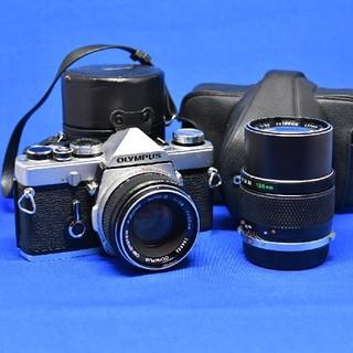 オリンパス(OLYMPUS)のオリンパス OLYMPUS OM-1 レンズ2本 ケース付属 ジャンク 動作品(フィルムカメラ)