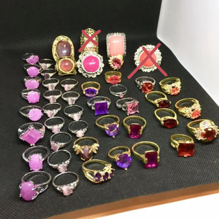 パープル、レッド、ピンクのストーン リング 45個セット まとめ売り(リング(指輪))