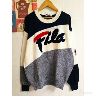FILA - FILA レトロ個性派古着vintageコットン長袖ゆるだぼニット 大きいサイズ