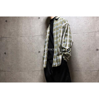 [used]moss green plaid big shirt.(シャツ)