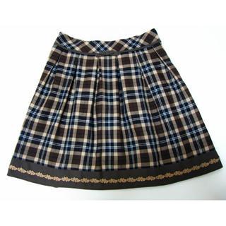 ロディスポット(LODISPOTTO)のロディスポット ブラウンチェック柄リボンスカート(ミニスカート)