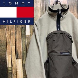 TOMMY HILFIGER - 【激レア】トミーヒルフィガー☆刺繍ロゴ入りナイロン切替2wayフリースアノラック