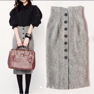 ハイウエストスカートフロントボタンツイードタイトスカートグレー灰色ブラック黒(ひざ丈スカート)