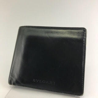 76b56dfec921 ブルガリ(BVLGARI)の正規品 BVLGARI ブルガリ ブラック レザー 折財布 EP8-14