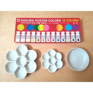 ポスターカラー& 陶器の絵の具皿セット/STC 陶器の梅皿