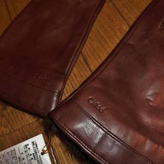 クロエ(Chloe)の《新品》Chloe クロエ、おしゃれな高級革手袋/羊革/茶(手袋)