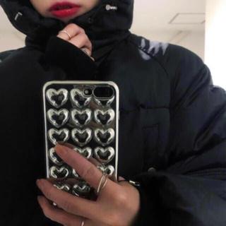 セブンパーセントモアピンク(7% more PINK)のiPhone7 8 プラス対応 silver HEART(iPhoneケース)
