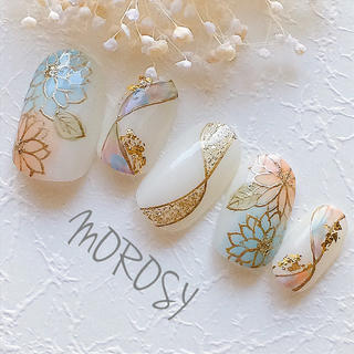 MOROSY119☆和装 白無垢 お正月 成人式 振袖 和柄 和風 ネイルチップ