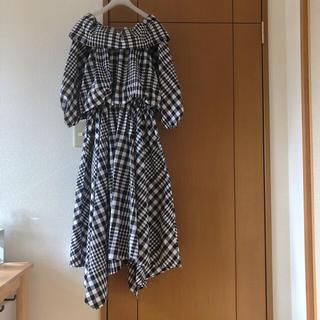 エンフォルド(ENFOLD)のENFOLD 2018完売 オフショルダーチェックドレス(ロングワンピース/マキシワンピース)