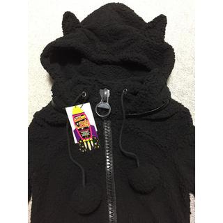 ジェーエスジー(JSG)のJSG モコモコ パーカー 黒 ブラック 猫耳 新品(パーカー)