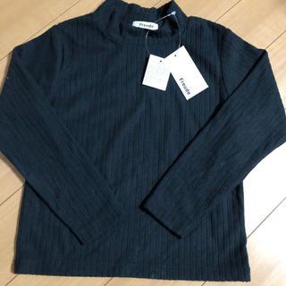 シマムラ(しまむら)の新品 黒色 無地 ハイネック 130 女の子 トレーナー 長袖 トップス (Tシャツ/カットソー)