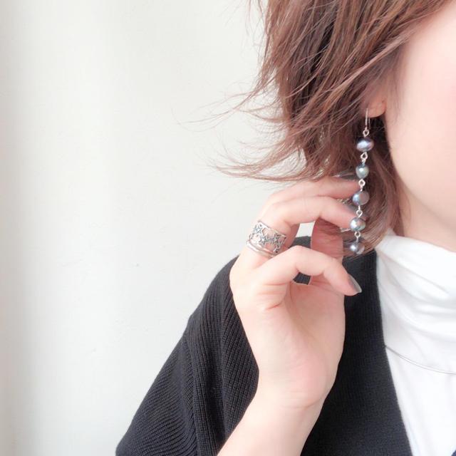 pearl pierce ブルー ハンドメイドのアクセサリー(ピアス)の商品写真