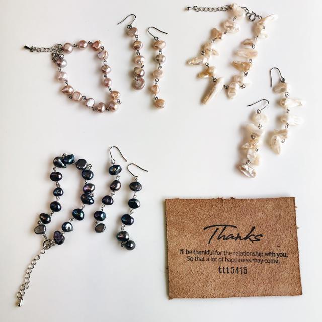pearl bracelet ブルー ハンドメイドのアクセサリー(ブレスレット/バングル)の商品写真
