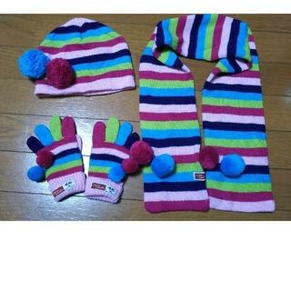 チッカチッカブーンブーン(CHICKA CHICKA BOOM BOOM)のチカチカブーンブーン  女の子 マフラー、手袋、帽子の3点セット(マフラー/ストール)