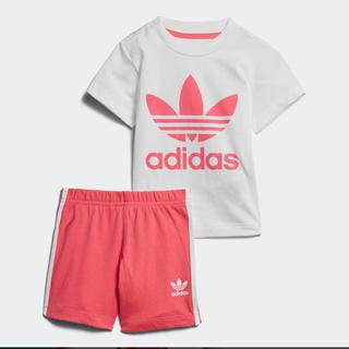 アディダス(adidas)の新品 アディダス ロゴT セットアップ 上下 ピンク キッズ 80(Tシャツ)