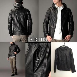 シャマ(shama)のshama レザーフードジャケット ナノユニバース(レザージャケット)