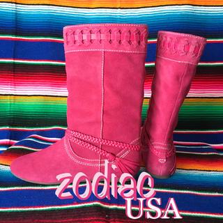 ゾディアック(ZODIAC)のZodiacゾディアックUS限定スウェードブーツus7  24.0cmフューシア(ブーツ)