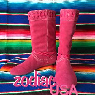 ゾディアック(ZODIAC)のZodiacゾディアック限定スウェードブーツus8.5  25.5cmフューシア(ブーツ)