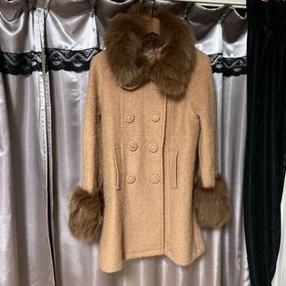 キメラパーク(ChiMera park)のキメラパーク 襟袖ボリュームファーベージュコート フォックスファー リアルファー(毛皮/ファーコート)