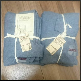 MUJI (無印良品) - 【無印良品 プリーツカーテン 新品未使用 100×200 ブルー 2枚】
