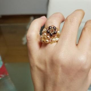 可愛いビーズリング♥お花 ゴールド×ホワイト×ピンク 指輪(リング(指輪))