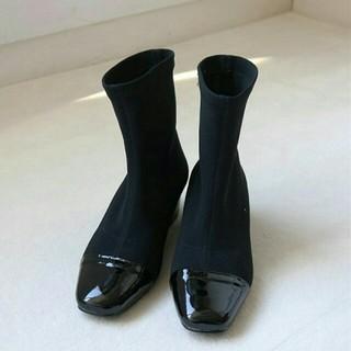 トゥデイフル(TODAYFUL)の【新品】人気完売TODAYFULリブソックスブーツ 靴ショートブーツブーティ38(ブーツ)