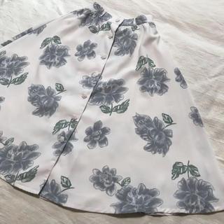 リズリサ(LIZ LISA)の【LIZ LISA】膝下 スカート ロング 花柄 ホワイト(ロングスカート)