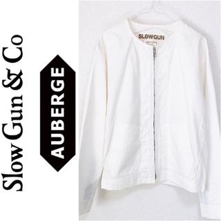 スロウガン(SlowGun)のSLOWGUN ノーカラージャケット ホワイト 日本製 スロウガン(ノーカラージャケット)