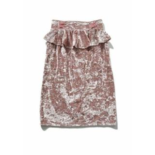 スピンズ(SPINNS)の新品 spinns ベロアフリルタイトスカート ピンク(ひざ丈スカート)
