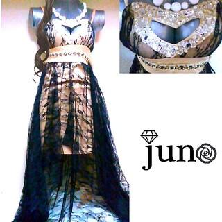 ジュエルズ(JEWELS)のJewels 前 ミニ レース レイヤード ロング ドレス 新品 ゴールド(ロングドレス)