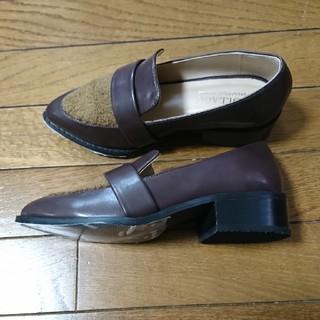 ガリャルダガランテ(GALLARDA GALANTE)の新品ガリャルダガランテ コラージュ ファー付ローファー 茶 ブラウン36 23㎝(ローファー/革靴)