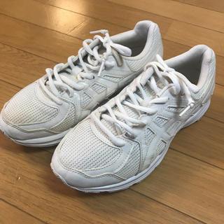 アシックス(asics)のアシックス ジュニア 通学用運動靴 白 美品  24センチ お値下げ!(スニーカー)