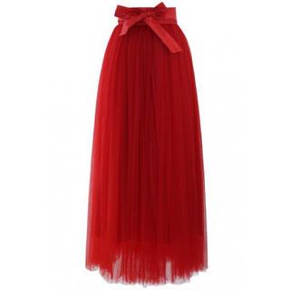 シックウィッシュ(Chicwish)のシックウィッシュ 新品 チュールスカート クリスマス パーティー レッド(ロングスカート)