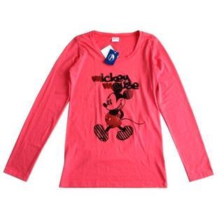 ディズニー(Disney)の新品 Disney ディズニー ミッキー 長袖 Tシャツ ロンT ピンク(Tシャツ(長袖/七分))