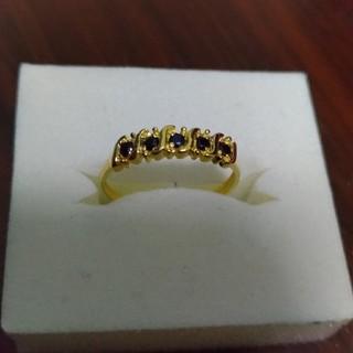 アヴァランチ(AVALANCHE)のカレン様専用 イエローゴールド ブラックサファイア リング 指輪 新品(リング(指輪))
