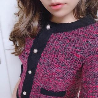 七分袖ツイードジャケット/カーディガン/ピンク×ブラック/M(ノーカラージャケット)