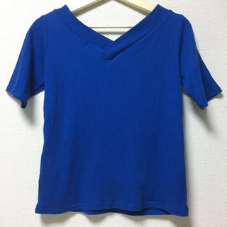 シマムラ(しまむら)のTシャツ シンプル ブルー Vネック シャツ(Tシャツ(半袖/袖なし))