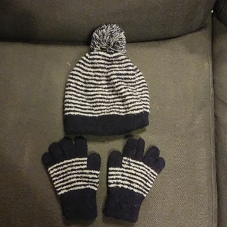 MUJI (無印良品) - 無印良品 ニット帽(50から54センチ) 手袋 セット ネイビー