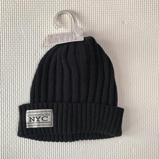 シマムラ(しまむら)の【未使用】ワッペンリブニット帽 ブラック(帽子)