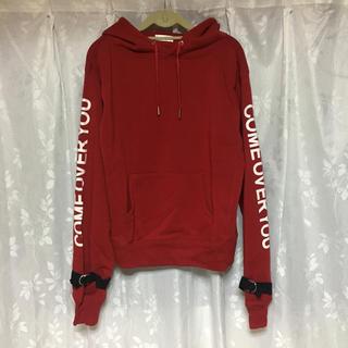 インフェクトカラーズ(Infect Colors)の赤色 パーカー 袖ロゴ ベルト 韓国(パーカー)