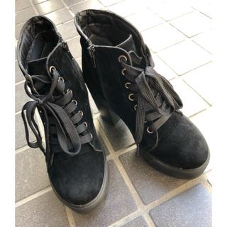 スズタン(suzutan)の厚底 ヒール ブーツ スウェード(ブーツ)