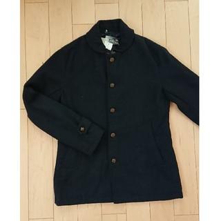 ジーユー(GU)のGU 丸襟 ウールハーフジャケット ネイビー S(ステンカラーコート)
