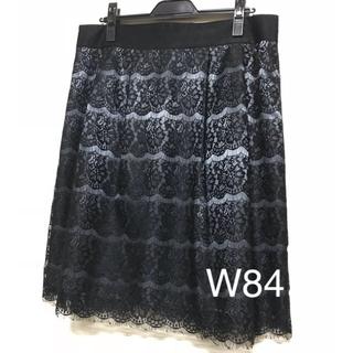 黒 レース スカート W84(ひざ丈スカート)
